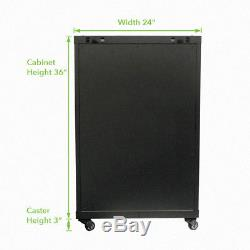 18U Wall Mount Network Server Cabinet Rack Glass Door Lock withCasters and Shelves