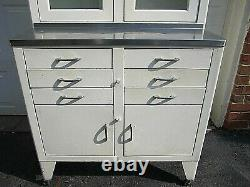 1920-1930's WHITE MEDICAL STEEL CABINET With THREE GLASS DOORS 78 X 36 X 20