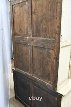 19th Century Antique French Painted Farmhouse Cabinet Glass Doors