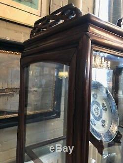 19th Century Chinese Rosewood Hand Carved 3 Shelf Curio Display Cabinet 2 Doors
