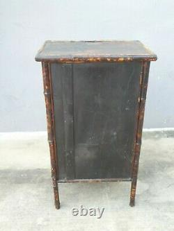 19th Century Victorian Japanned Bamboo Glass Door Cabinet