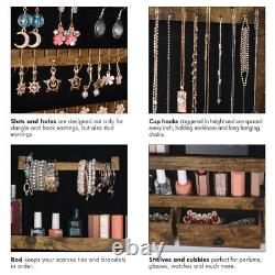 1X Full-Length Mirror Jewelry Armoire Door Wall Mounted Cabinet Organizer Rustic