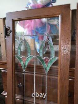 2 Antique 1920s Chicago Bungalow Stained Leaded Glass Cabinet Door / Window