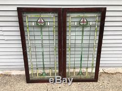 2 Antique Stained Leaded Glass Bookcase Cabinet Doors / Windows 48 by 24
