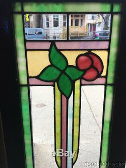 2 Antique Stained Leaded Glass Cabinet Doors / Windows 50 by 12 14/16