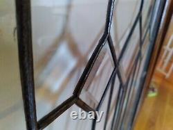 2 Antique beveled glass window Oak Cabinet Door 21 wide X 33 inches tall
