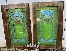 2-Butterfly/Owl Leaded Stained Glass Cabinet Doors For Window, Antique