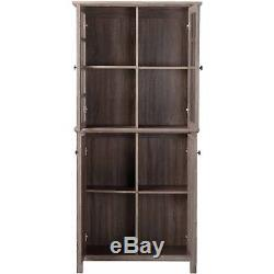 2 Glass Doors Storage Cabinet Pantry Kitchen Dining Room Reclaimed Wood 71 Tall