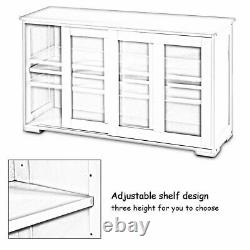 2-Layer Sideboard Cupboard Storage Cabinet with Sliding Door for Pantry Kitchen