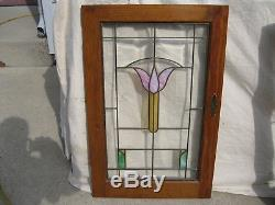 2 Matched Stained Beveled Glass Cabinet Bookcase Doors Milwaukee Bungalow Tulip