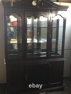2 Piece display cabinet with glass doors. Great If You Want To Refurbish It