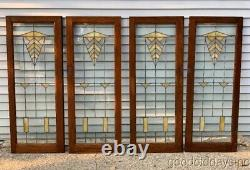 2 of 4 Antique Chicago Arts Crafts Stained Leaded Glass Oak Cabinet Door Window