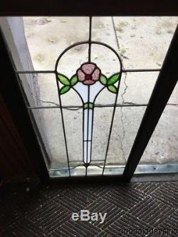 2 of 4 Beautiful Antique Stained Leaded Glass Cabinet Doors / Window 42 22