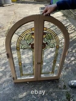 2 pairs antique round top stained glass built-in cabinet doors with latch Art Nouv