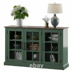 3 Glass Door Sideboard China Display Cabinet 60' TV Console Sage Green Brown