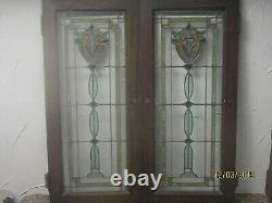 35x15 Pair of Antique Art Deco Stains Leaded Glass Cabinet Doors from Chicago