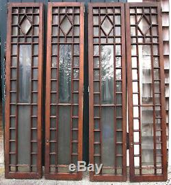 4 Antique Multi-Pane Glass & Wood Cabinet Doors 2 Sets Architectural Salvage
