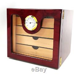 4 drawers Humidor Cedar Cabinet, Hold Up to 70 Cigar, Tempered Glass Door