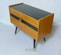 50s 60s Entryway Cabinet 2-door, beechwood + black glass top, German Mid Century