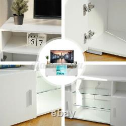 57 2 Door with RGB LED Light Shelves TV Stand Unit Cabinet Entertainment Center