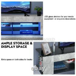 57''TV Stand Unit Cabinet Modern Entertainment Center withLED Light for max 65''TV