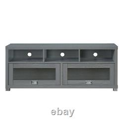 58 TV Stand for TVs up to 75 Stylish 2 Storage Cabinets with Glass Door