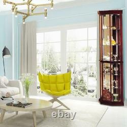 6 Layers Curio Display Cabinet Cupboard Wood Glass Office Case Door Storage Home