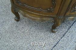 61050 Marble Top Server Cabinet Console Sideboard Curio with Leaded glass doors