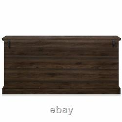 70 Wood Sideboard Universal Stand Glass Doors Buffet Cabinet Storage 5 Colors