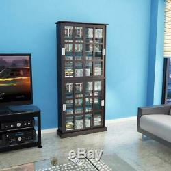 72 Wooden Media Storage Cabinet CD DVD VHS Organizer Tower Rack Glass Doors
