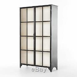 78 H Bartley Cabinet Bookcase Solid Iron Frame Dual Glass Doors Ample Shelving