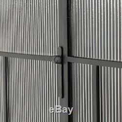 78 T Cabinet Distressed Iron Offset Fluted Glass Door Panes Modern Industrial