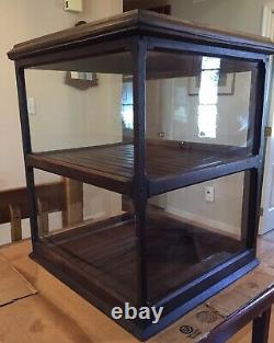 ANTIQUE OAK & GLASS STORE COUNTER TOP DISPLAY CASE With2 REAR OPENING DOORS