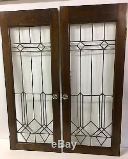 ANTIQUE PAIR Of 16x40 SOLID OAK CUPBOARD CABINET DOORS With LEADED GLASS  PANELS