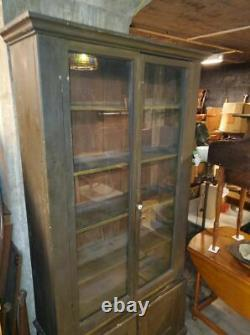 ANTIQUE PRIMITIVE TALL KITCHEN PANTRY CUPBOARD CABINET With GLASS DOORS