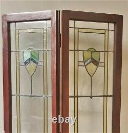 ANTIQUE c1910 LEADED SLAG STAINED GLASS BIFOLD FRENCH BOOKCASE CABINET DOORS