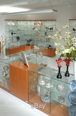 All Glass Display Cabinet with Lockable Door Toughened Glass 90H x 40 x 40 cm