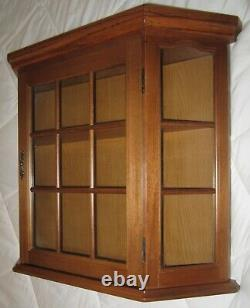 Angled Wood Curio Box Display Case Wall Cabinet withGlass Door & Glass Ends