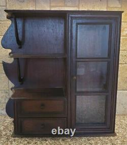 Antique 1800s Wooden Wall Hanging Apothecary/Spice/Medicine Cabinet Glass Door