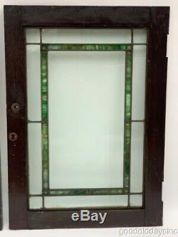 Antique 1920's Stained Leaded Glass Cabinet Doors 25 x 18 Window