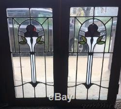 Antique 1920's Stained Leaded Glass Small Bookcase Oak Cabinet Door / Window