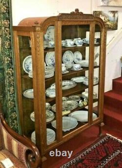 Antique American Tiger Oak Glass Door & 4 Glass Sides China Cabinet Display 1890