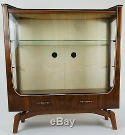 Antique Art Deco Display Cabinet Mahogany With Glass Doors And Drawers Vintage
