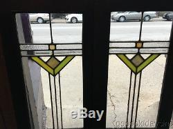 Antique Art Deco Stained Leaded Glass Bookcase Cabinet Doors / Windows 45 x 13