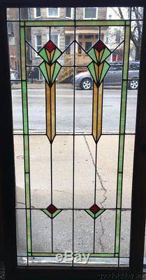 Antique Art Deco Stained Leaded Glass Window / Cabinet Door 51 by 26