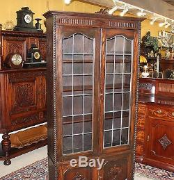 Antique Arts & Crafts Oak Leaded Glass Door Tall Bookcase Narrow Display Cabinet