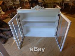 Antique Beach Home Style Upper Level Glass Door Cabinet Painted in White