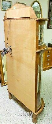 Antique Bow Front China Cabinet Claw Feet, Curved Glass Door And 2 Side Panels