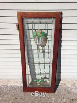 Antique Chicago Stained Leaded Glass Cabinet Door / Window 48 by 20