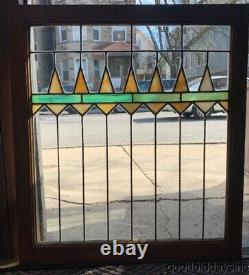 Antique Chicago Stained Leaded Glass Oak Cabinet Door / Window 32 by 29